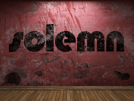 solemn: solemn word on red wall