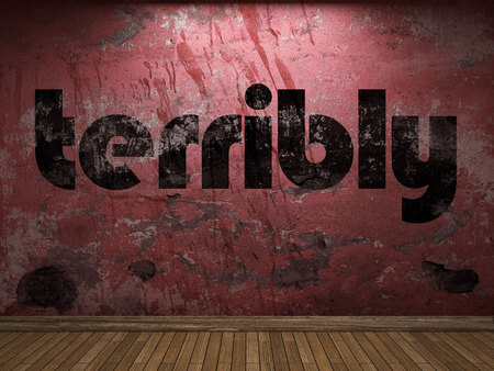 terribly: terribly word on red wall
