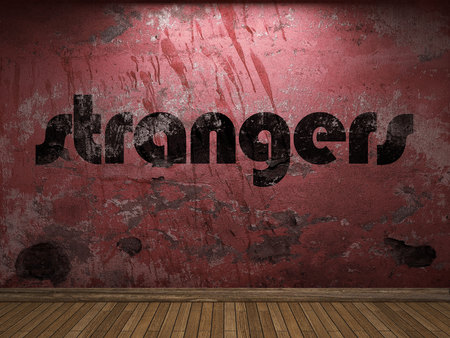 strangers: strangers word on red wall Stock Photo
