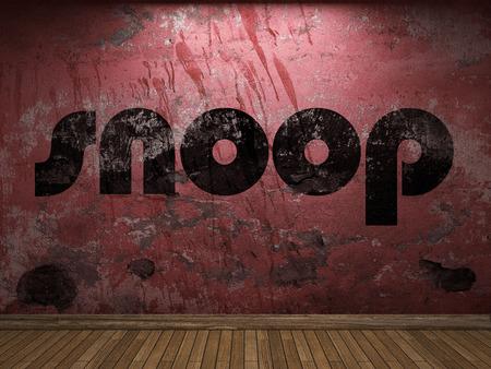 snoop: snoop word on red wall