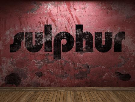 sulphur: sulphur word on red wall