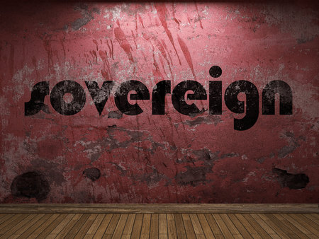 sovereign: sovereign word on red wall Stock Photo