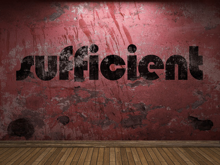 sufficient: sufficient word on red wall