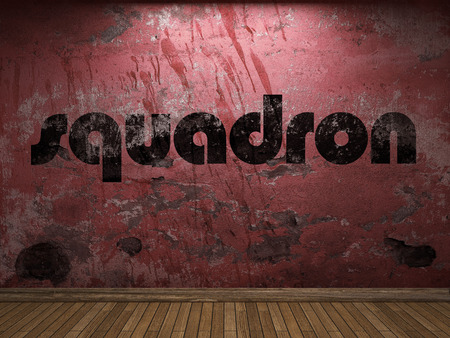 squadron: squadron word on red wall