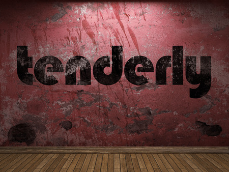 tenderly: tenderly word on red wall Stock Photo