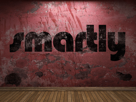 smartly: smartly word on red wall