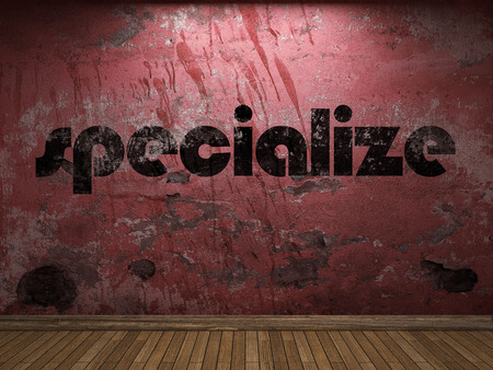 specialize: specialize word on red wall