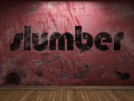 plaster board: slumber word on red wall