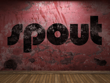 spout: spout word on red wall