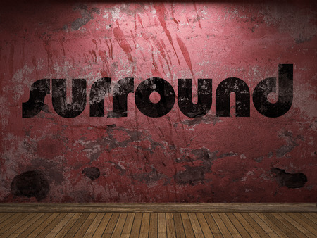 surround: surround word on red wall