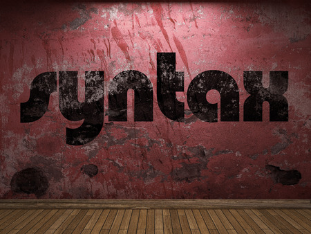 syntax: syntax word on red wall