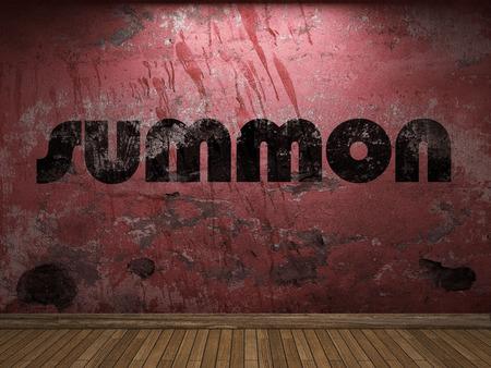 summon: summon word on red wall Stock Photo