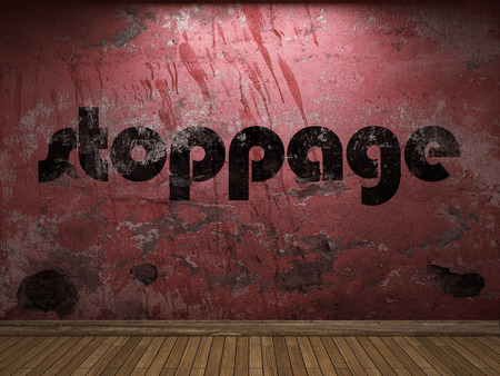 stoppage: stoppage word on red wall Stock Photo