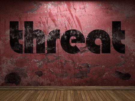 palabra amenaza en la pared roja Foto de archivo