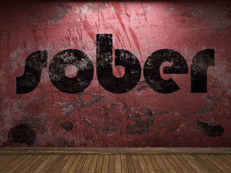 sober: sober word on red wall