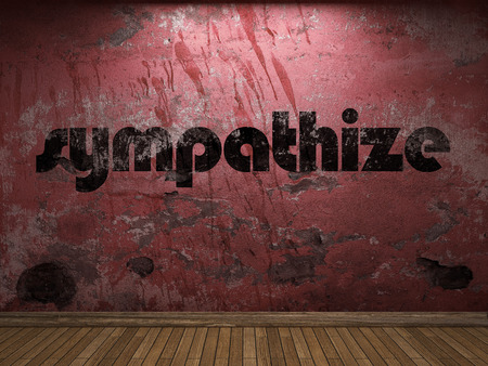 plaster board: sympathize word on red wall Stock Photo