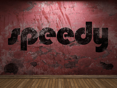 speedy: speedy word on red wall Stock Photo