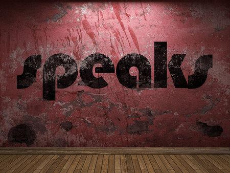 plaster board: speaks word on red wall