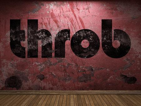 throb: throb word on red wall