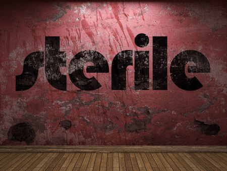 sterile: sterile word on red wall