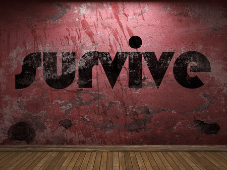 survive: survive word on red wall