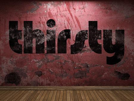 sediento: palabra sed en la pared roja