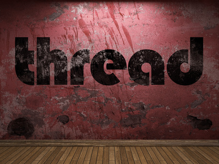plaster board: thread word on red wall