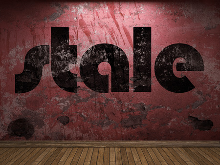 stale: stale word on red wall