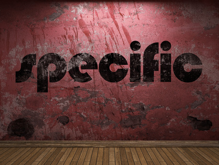 specific: specific word on red wall Stock Photo