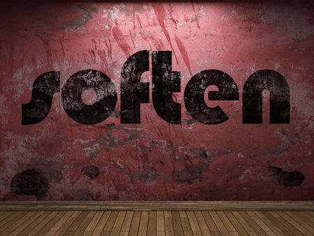 soften: soften word on red wall