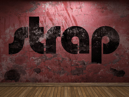 strap: strap word on red wall Stock Photo