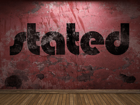 stated: stated word on red wall