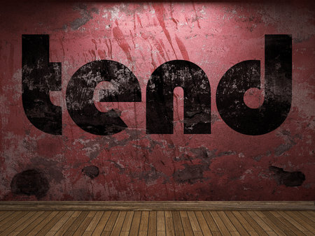 tend: tend word on red wall Stock Photo