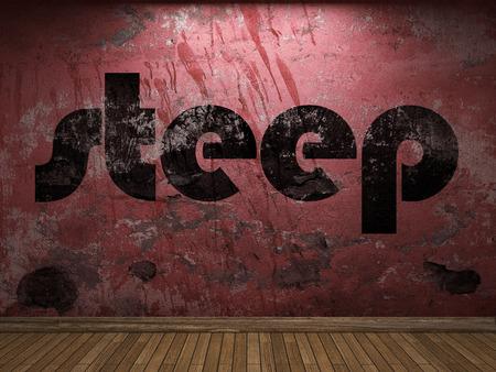 steep: steep word on red wall Stock Photo