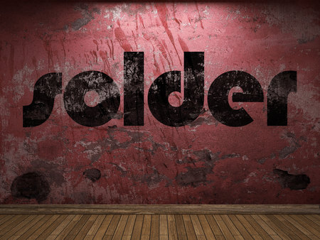 solder: solder word on red wall