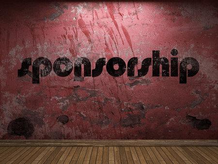 sponsorship: sponsorship word on red wall Stock Photo
