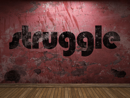 struggle word on red wall
