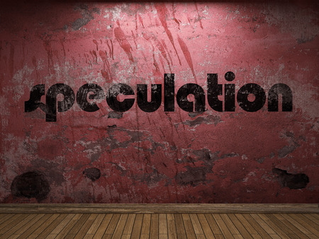 speculation: speculation word on red wall Stock Photo