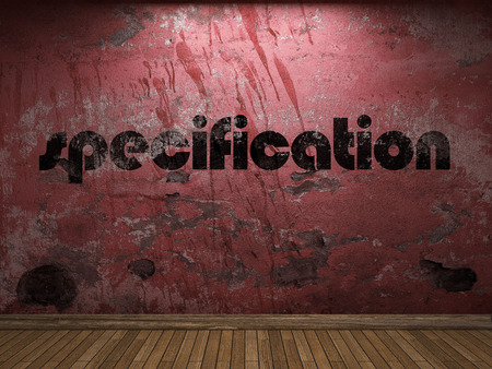 specification: specification word on red wall