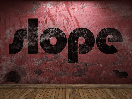 slope: slope word on red wall Stock Photo