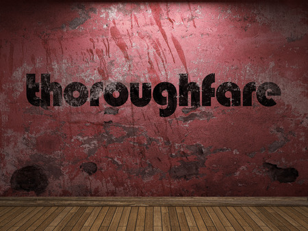 thoroughfare: thoroughfare word on red wall