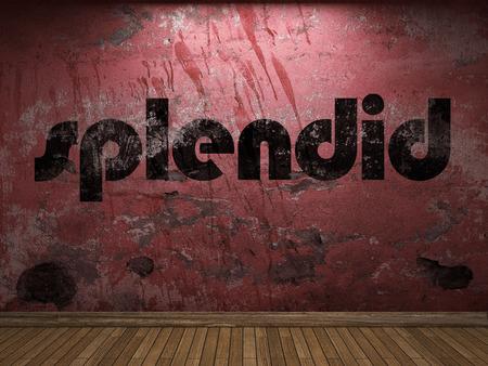 splendid: splendid word on red wall