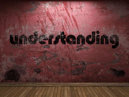 an understanding: understanding word on red wall