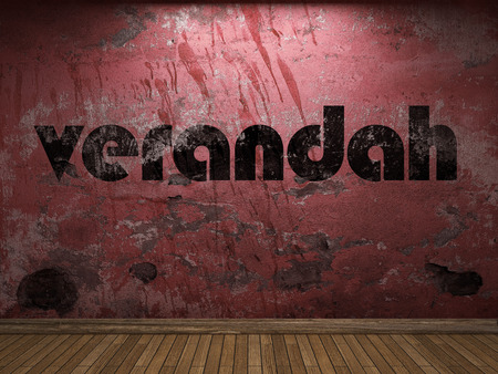 verandah: verandah word on red wall