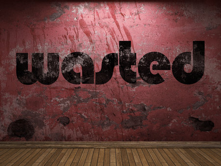 wasted: wasted word on red wall Stock Photo