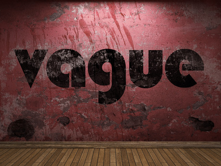 vague: vague word on red wall