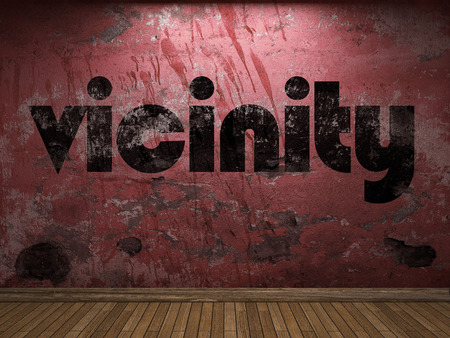 vicinity: vicinity word on red wall Stock Photo