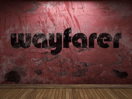 wayfarer: wayfarer word on red wall