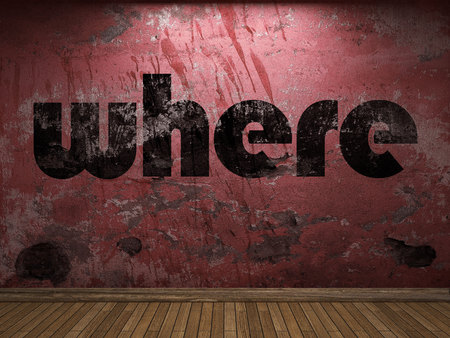 where: where word on red wall Stock Photo