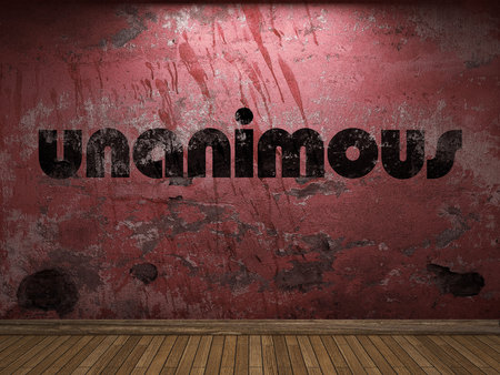 unanimous: unanimous word on red wall